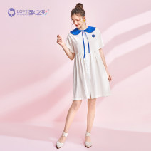 Dress The color of pregnancy white M,L,XL Korean version Short sleeve Medium length summer Lapel Solid color Pure cotton (95% and above)