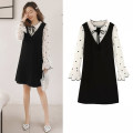 Dress Other / other Black (fake two pieces), black (fake two pieces + black belly pants) M,L,XL,XXL Korean version Long sleeves Medium length spring Crew neck Dot Roman cloth 996#