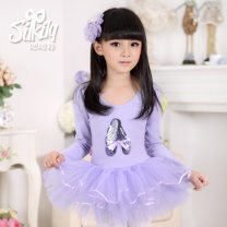 Children's performance clothes Open crotch (purple) female 100, 110, 120, 130, 140, 150 Silkily Class B Ballet Cotton 100% other Three, four, five, six, seven, eight, nine, ten, eleven, twelve Europe and America