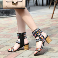 Sandals 35,36,37,38,39,40 Decor PU Toenail Thick heel High heel (5-8cm) Summer of 2019 Trochanter ethnic style Color matching Adhesive shoes Youth (18-40 years old) EVA sandy beach Ankle strap long and tube-shaped Hollow PU PU Roman shoes Shaving