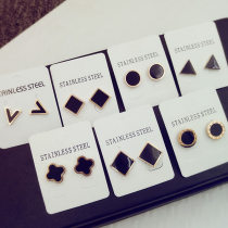 Ear Studs Titanium steel 30-39.99 yuan Other / other Black arc diamond black Roman numeral round black square black simple round black solid triangle temperament black long triangle black clover square black V-shaped Earrings brand new Japan and South Korea female goods in stock Fresh out of the oven