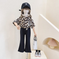 suit Other / other Leopard 2-piece suit - pants not split, leopard 2-piece suit - pants split female summer Europe and America Short sleeve + pants 2 pieces Thin money No model Socket nothing Leopard Print Cotton blended fabric children Giving presents at school Other 100%