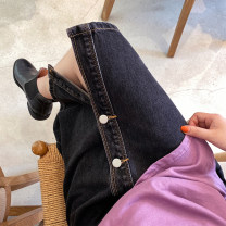 skirt Autumn 2020 S,M,L Black, dark blue Mid length dress High waist Denim skirt Solid color Type A More than 95% Denim Other / other cotton Button