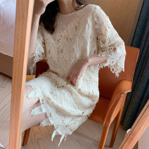Dress Summer 2020 Off white S,M,L Short skirt singleton  elbow sleeve commute Crew neck Loose waist A button routine Type H Other / other Retro 31% (inclusive) - 50% (inclusive) Lace cotton