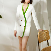 suit Spring 2021 white S,M,L Long sleeves Straight cylinder V-neck double-breasted commute routine Solid color Pockets, buttons, stitching