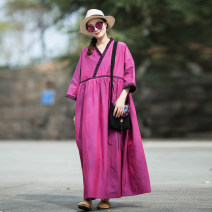 Dress Summer 2020 Warm purple M, L longuette singleton  three quarter sleeve commute V-neck Loose waist Solid color Socket A-line skirt Sleeve Others 30-34 years old Type A Original design of Xiaosu Retro More than 95% cotton