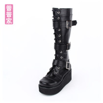 Boots 34 35 36 37 38 39 40 41 42 43 44 black PU Angelic imprint High heel (5-8cm) Slope heel PU High tube Round head PU PU Spring 2015 Side zipper Punk foam Youth (18-40 years old) spring and autumn Belt buckle of slope Heel Platform nine thousand seven hundred and eight