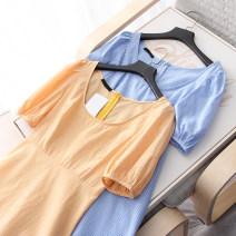 Dress Summer 2020 Yellow, blue S,M,L Mid length dress singleton  Short sleeve Sweet square neck lattice Socket Ruffle Skirt puff sleeve Type A Vast sky / haofei solar system