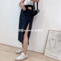 skirt Winter 2020 S,M,L,XL Blue, black longuette Versatile High waist skirt Solid color Type H 18-24 years old knitting cotton Solid color
