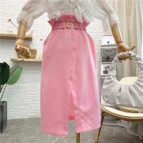 skirt Spring 2021 M, L Black, white, blue, pink Mid length dress commute High waist A-line skirt Solid color Type A [N199] Korean version