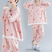 Pajamas / housewear set female Qi is in love 2XL (chest 120cm130-160kg), 3XL (chest 130cm170-200kg), 4XL (chest 140cm210-240kg), 5XL (chest 150cm240-270kg) Pink cotton Long sleeves Sweet Leisure home spring Thin money Crew neck trousers Socket youth 2 pieces More than 95% Dress 1906 pink pajamas