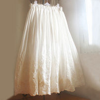 skirt Spring 2021 Average size milky white Mid length dress fresh High waist Umbrella skirt Solid color Type A 81% (inclusive) - 90% (inclusive) cotton Embroidery