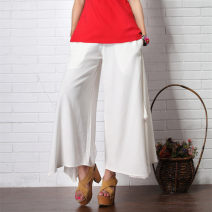 Casual pants Black, white, green, red Average size Summer 2021 trousers Wide leg pants Natural waist commute routine Mafan cloth clothes hemp literature hemp