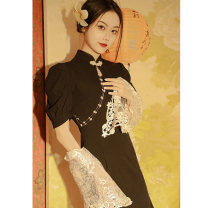 cheongsam Spring 2021 Collection (XL), collection (XL), plus shipping (XL) priority by the light of the moon and the stars Long sleeves Short cheongsam Retro Low slit daily Oblique lapel Solid color 18-25 years old Piping YC-2319 polyester fiber