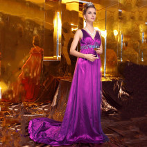 Dress / evening wear Dating, acting, company annual meeting, party, adulthood, wedding Average size violet sexy longuette High waist Spring of 2019 Trailing Deep collar V Deep V style 26-35 years old Sleeveless Diamond ornament Oulilan Guifang Resin drill