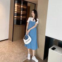 suit AROOM White + blue suit Average size Korean version Short sleeve + skirt summer routine Solid color Denim