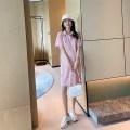 Dress AROOM Pink, white, black M,L,XL Korean version Short sleeve Medium length summer Lapel Solid color cotton N50-47