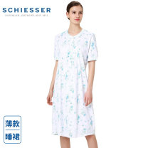 Nightdress Schiesser / Shuya white M (105-120kg), l (120-135kg), s (90-105kg) Sweet Short sleeve Leisure home Middle-skirt summer Plants and flowers youth Crew neck cotton More than 95% Knitted cotton fabric 31-11012D