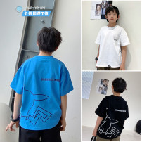 T-shirt White, sapphire blue, black, white pre-sale, sapphire blue pre-sale Other / other 130, 140, 150, 160, 170 male summer Short sleeve Crew neck Korean version There are models in the real shooting nothing cotton other Cotton 95% other 5% XHQ12TX1208 Class B other Chinese Mainland Guangzhou City