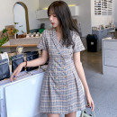 Dress Summer 2021 Gray blue S,M,L,XL Short skirt singleton  Short sleeve commute tailored collar High waist lattice double-breasted A-line skirt routine Others 18-24 years old Type A Korean version Button 31% (inclusive) - 50% (inclusive) other other