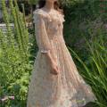 Dress Summer 2020 Decor S, M longuette singleton  three quarter sleeve Sweet Crew neck High waist Decor routine 18-24 years old Type A Chiffon polyester fiber