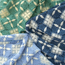 Fabric / fabric / handmade DIY fabric Others Green, Navy, light blue Loose shear piece Plants and flowers other Other hand-made DIY fabrics Europe and America