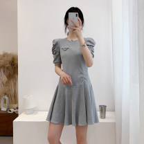 Dress Summer 2020 Gray (collection store priority delivery), black (collection store priority delivery) M, L Crew neck puff sleeve 25-29 years old D.SIXTH