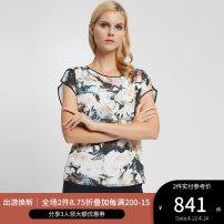 shirt CREAM PRINT 2,4,6,8,10 Summer 2020 polyester fiber 96% and above Short sleeve Versatile Regular Crew neck zipper other other 25-29 years old Straight cylinder Ports printing