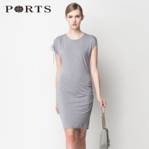 Dress Summer of 2019 RAIN 2,4,6,8,10,12 Mid length dress singleton  Short sleeve commute Crew neck Solid color Socket other other Others 30-34 years old Ports Simplicity 30% and below other Lycra Lycra