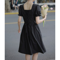 Dress Summer 2020 Black, white S,M,L,XL Middle-skirt Short sleeve commute square neck Solid color puff sleeve Retro More than 95% cotton