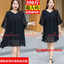 Women's large Summer 2020 black 4XL,5XL,6XL,7XL,2XL,3XL Dress singleton  commute easy thin Conjoined elbow sleeve Solid color Korean version Crew neck polyester fiber Three dimensional cutting pagoda sleeve 25-29 years old 96% and above Medium length other