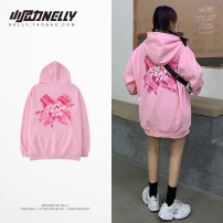 Sweater Youth fashion HEYBIG Pink, black, blue S,M,L,XL,2XL,3XL other Socket Plush Hood autumn easy leisure time teenagers tide routine THWY1225GS printing washing