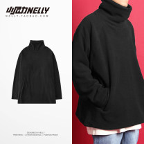 Sweater Youth fashion LAY LOW Black, dark red M,L,XL Solid color Socket routine Door collar winter easy leisure time teenagers Hip hop routine Polyester 100% washing Side seam pocket