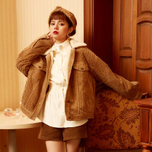 short coat Winter 2017 S M L Retro red milk tea color Long sleeve conventional Thicken Single Straight conventional sweet Fang Ling zipper Pure color TAKEANAP / nap 18-24 years old 3A1111W04XD pocket 91% (inclusive) - 95% (inclusive) cotton cotton