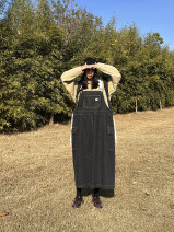 Dress Spring 2021 black S, M longuette singleton  Sleeveless street High waist Solid color other straps Type A Other / other Denim