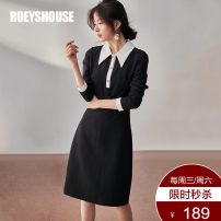 Dress Winter of 2019 S M L XL 2XL Mid length dress singleton  Long sleeves commute Polo collar middle-waisted Solid color Socket A-line skirt routine Others 30-34 years old Type A Roey s house Ol style Lace up button zipper 81% (inclusive) - 90% (inclusive) other polyester fiber