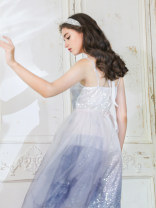 Dress Summer 2020 Blue, white Average size Mid length dress singleton  Sleeveless commute V-neck Solid color zipper camisole 25-29 years old To my love Retro Sequins