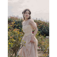 Dress Summer 2021 Apricot S,M,L longuette singleton  elbow sleeve commute Crew neck High waist Solid color zipper A-line skirt puff sleeve Others 25-29 years old Type A To my love Retro Zipper, 3D, embroidery More than 95% organza  polyester fiber