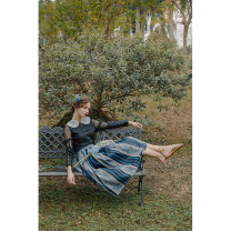 skirt Spring 2021 S,M,L Vertical stripe longuette Retro High waist A-line skirt stripe Type A 25-29 years old To my love polyester fiber