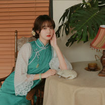 cheongsam Summer 2021 S,M,L 2 days after billing three quarter sleeve long cheongsam Retro Low slit daily Oblique lapel Solid color 25-35 years old Piping other 96% and above