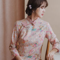 cheongsam Summer 2021 XXL,S,M,L,XL Picture 7-sleeve hair the next day, short sleeve no picture 10-15 days hair three quarter sleeve long cheongsam grace Low slit banquet Oblique lapel Decor 25-35 years old Nail bead