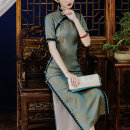 cheongsam Spring 2021 XXL 120-130kg, s 80-90kg, m 90-100kg, l100-110kg, XL 110-120kg 2 days after billing Short sleeve long cheongsam grace Low slit daily Oblique lapel Broken flowers 25-35 years old Piping other