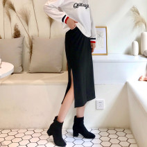 skirt Spring 2021 XS,S,M,L,XL,2XL Roman cotton in spring and autumn, plush in winter longuette Versatile High waist Little black dress Solid color Type H 51% (inclusive) - 70% (inclusive) pocket 301g / m ^ 2 (including) - 350g / m ^ 2 (including)
