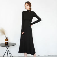 Dress Summer of 2018 black XS S M L XL 2XL 3XL longuette singleton  Long sleeves street Half high collar middle-waisted Solid color Socket Big swing routine Type H modal  Europe and America