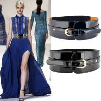 Belt / belt / chain top layer leather Red, blue, black female Waistband grace Single loop Youth, youth, middle age Pin buckle Patent leather 8cm alloy Naked, elastic