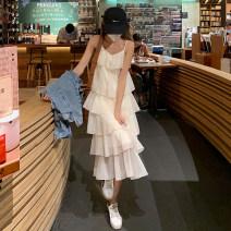 Dress Summer 2021 Off white Average size Mid length dress singleton  commute V-neck Solid color Socket Cake skirt camisole 18-24 years old Korean version