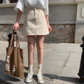 skirt Summer of 2019 S,M,L Off white, black Short skirt High waist A-line skirt Solid color Type A 18-24 years old 30% and below Denim