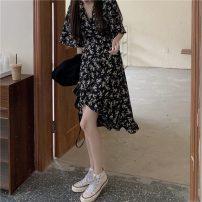 Dress Summer 2021 Picture color Average size Mid length dress singleton  Short sleeve commute V-neck High waist Broken flowers Irregular skirt 18-24 years old Korean version