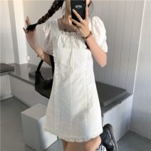 Dress Summer 2021 white S, M Short skirt singleton  Short sleeve commute square neck Solid color Socket puff sleeve 18-24 years old Korean version Lace, lace