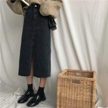 skirt Autumn of 2019 S,M,L black Mid length dress commute 18-24 years old Korean version